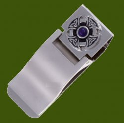 Amethyst Celtic Cross Knot Stylish Pewter Motif Nickel Plated Money Clip