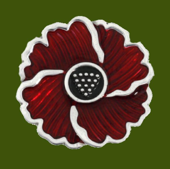 Image 0 of Poppy Red Enamel Flower Stylish Pewter Brooch