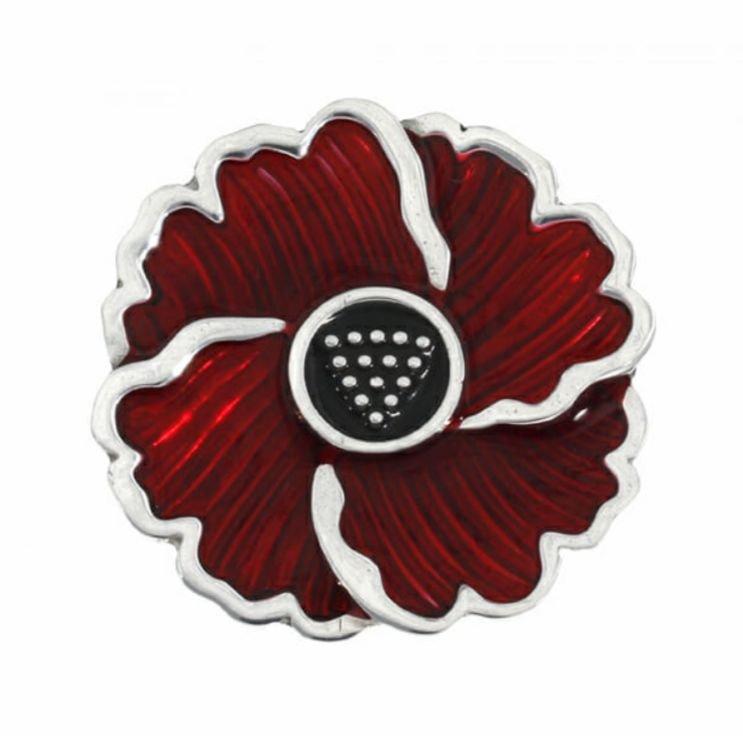 Image 1 of Poppy Red Enamel Flower Stylish Pewter Brooch