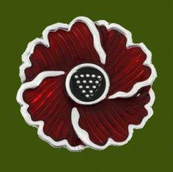 Cornish Poppy Red Enamel Flower Small Stylish Pewter Lapel Pin