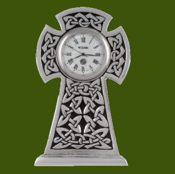 Image 0 of Knox Celtic Cross Knotwork Antiqued Stylish Pewter Clock