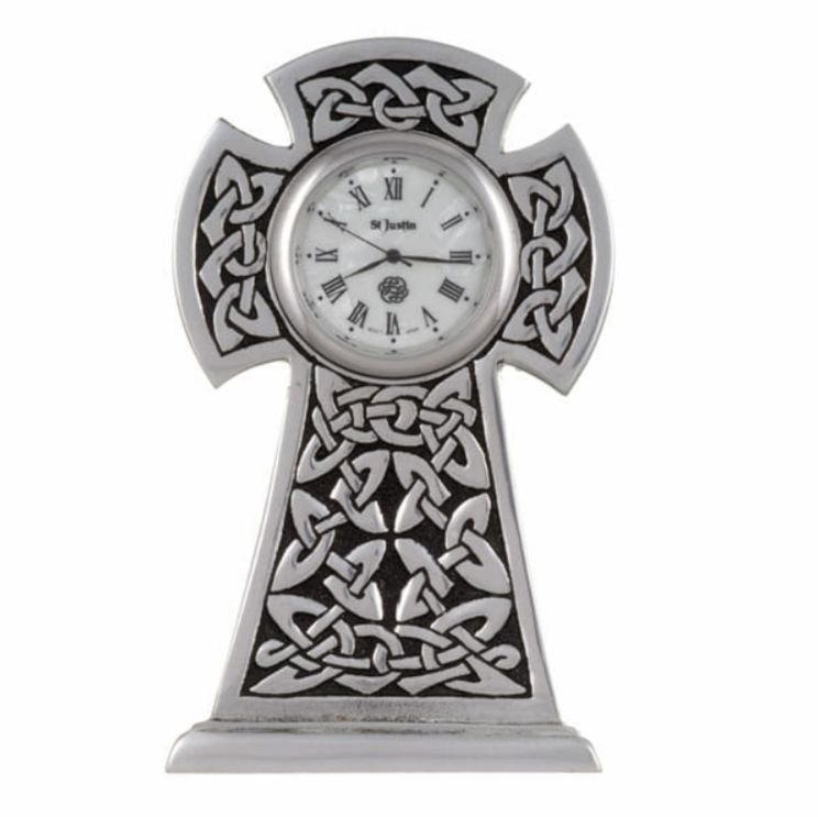 Image 1 of Knox Celtic Cross Knotwork Antiqued Stylish Pewter Clock