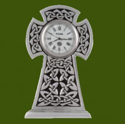 Knox Celtic Cross Knotwork Antiqued Stylish Pewter Clock