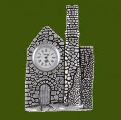 Cornish Engine House Antiqued Stylish Pewter Clock