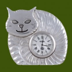 Fat Cat Animal Themed Embossed Antiqued Stylish Pewter Clock