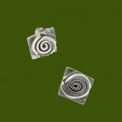 Abstract Spiral Square Small Stud Stylish Pewter Earrings