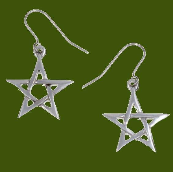 Image 0 of Pentagram Star Small Sheppard Hook Stylish Pewter Earrings