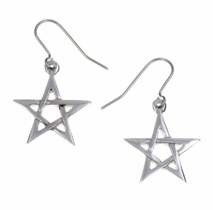 Image 1 of Pentagram Star Small Sheppard Hook Stylish Pewter Earrings