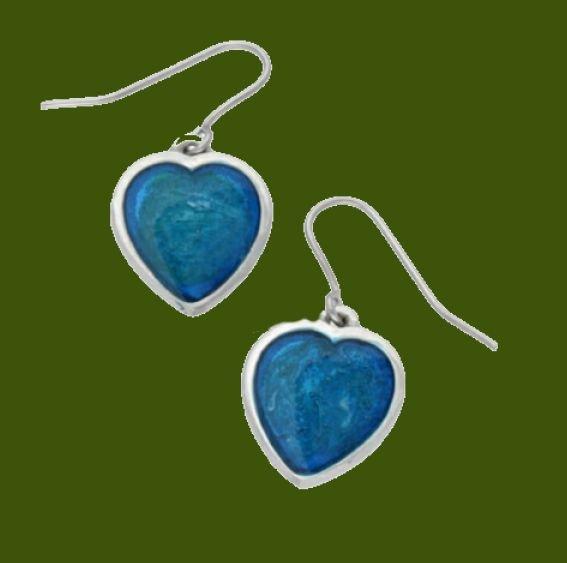 Image 0 of Love Heart Blue Enamel Small Sheppard Hook Stylish Pewter Earrings