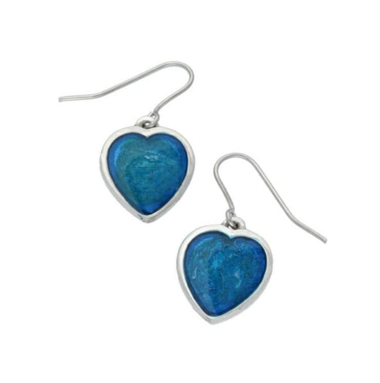 Image 1 of Love Heart Blue Enamel Small Sheppard Hook Stylish Pewter Earrings