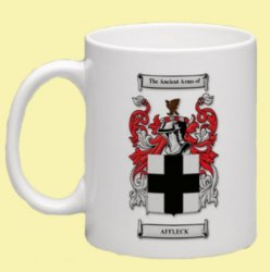 Affleck Coat of Arms Surname Double Sided Ceramic Mugs Set of 2
