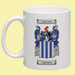 Armstrong Coat of Arms Surname Double Sided Ceramic Mugs Set of 2