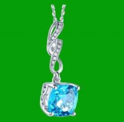 Swiss Blue Topaz Cushion Cut Curve Diamond Accent 14K White Gold Pendant