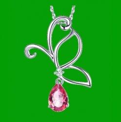Pink Topaz Pear Cut Drop Butterfly Diamond Accent 14K White Gold Pendant