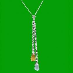 Blue Topaz Citrine Briolette Long Drop 14K White Gold Pendant