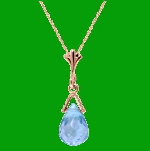 Image 0 of Blue Topaz Briolette Small Drop 14K Rose Gold Pendant