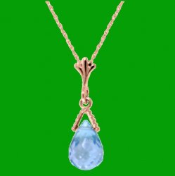 Blue Topaz Briolette Small Drop 14K Rose Gold Pendant