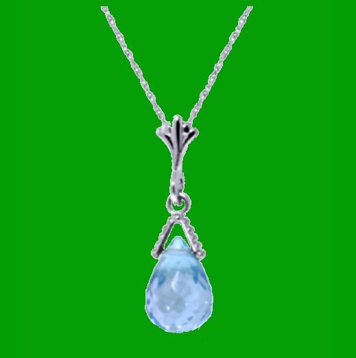 Image 0 of Blue Topaz Briolette Small Drop 14K White Gold Pendant
