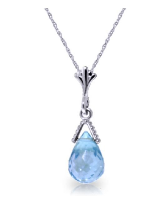Image 1 of Blue Topaz Briolette Small Drop 14K White Gold Pendant