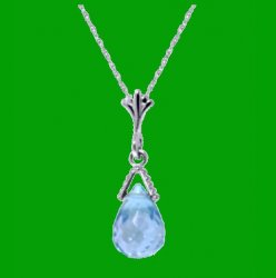 Blue Topaz Briolette Small Drop 14K White Gold Pendant