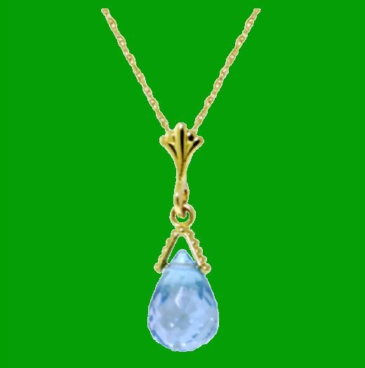 Image 0 of Blue Topaz Briolette Small Drop 14K Yellow Gold Pendant
