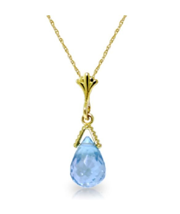 Image 1 of Blue Topaz Briolette Small Drop 14K Yellow Gold Pendant