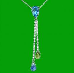 Blue Topaz Green Peridot Pear Briolette Double Drop 14K White Gold Pendant