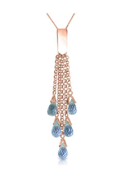 Image 1 of Blue Topaz Briolette Cascade Long Drop 14K Rose Gold Pendant