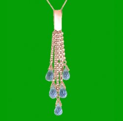 Blue Topaz Briolette Cascade Long Drop 14K Rose Gold Pendant