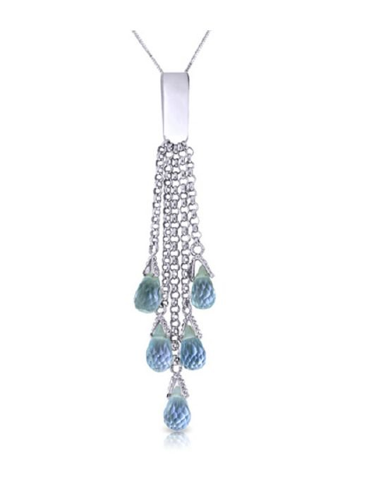 Image 1 of Blue Topaz Briolette Cascade Long Drop 14K White Gold Pendant