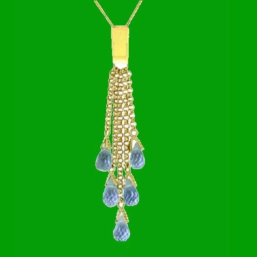 Image 0 of Blue Topaz Briolette Cascade Long Drop 14K Yellow Gold Pendant