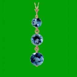 Blue Topaz Round Cut Triple Raindrop 14K Rose Gold Pendant