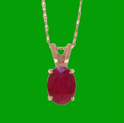 Red Ruby Oval Cut Firestone Small Ladies 14K Rose Gold Pendant
