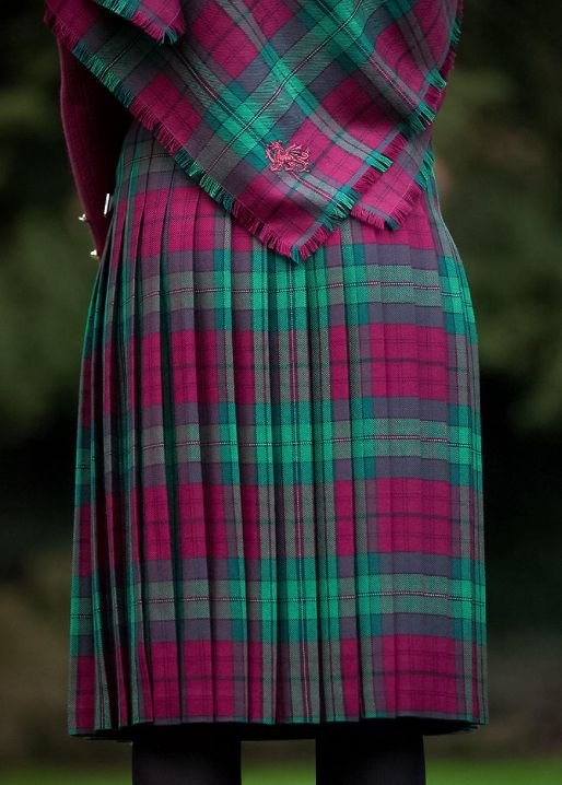 Image 2 of Jones John Welsh Tartan 13oz Wool Fabric Medium Weight Ladies Kilt Skirt