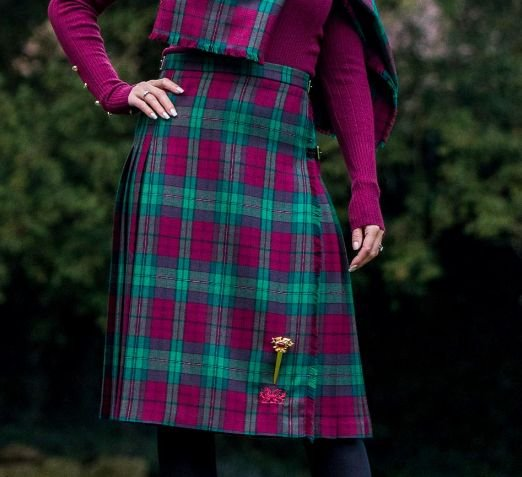 Image 3 of Jones John Welsh Tartan 13oz Wool Fabric Medium Weight Ladies Kilt Skirt