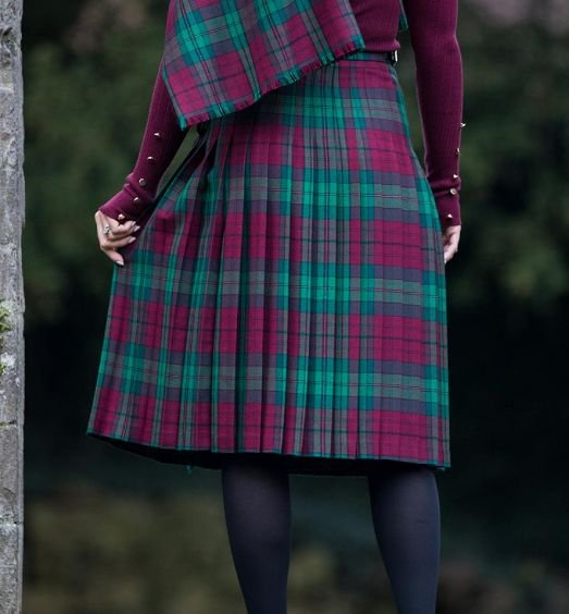 Image 4 of Jones John Welsh Tartan 13oz Wool Fabric Medium Weight Ladies Kilt Skirt