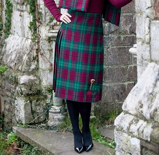 Image 5 of Jones John Welsh Tartan 13oz Wool Fabric Medium Weight Ladies Kilt Skirt