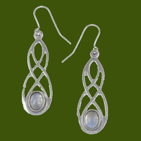 Image 0 of Celtic Bow Rainbow Moonstone Knotwork Stylish Pewter Sheppard Hook Earrings