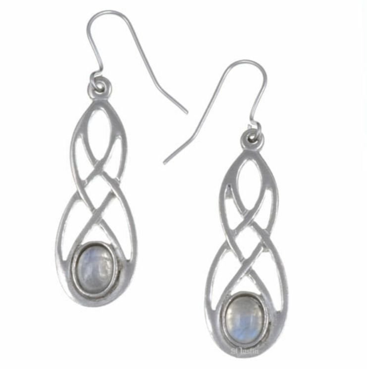Image 1 of Celtic Bow Rainbow Moonstone Knotwork Stylish Pewter Sheppard Hook Earrings