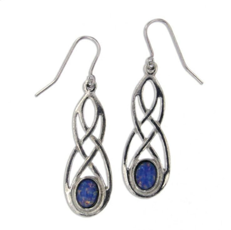 Image 1 of Celtic Bow Opal Glass Stone Knotwork Stylish Pewter Sheppard Hook Earrings