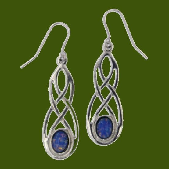 Image 0 of Celtic Bow Opal Glass Stone Knotwork Stylish Pewter Sheppard Hook Earrings