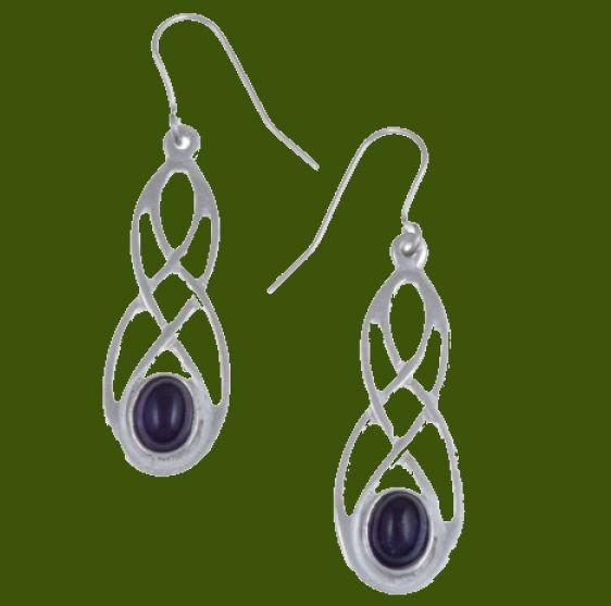 Image 0 of Celtic Bow Amethyst Knotwork Stylish Pewter Sheppard Hook Earrings