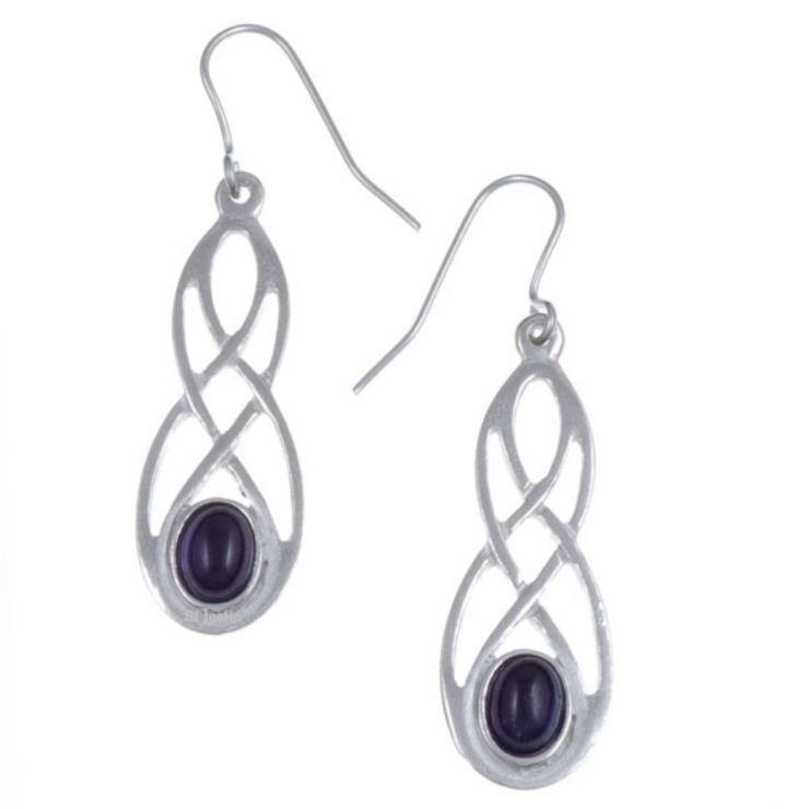 Image 1 of Celtic Bow Amethyst Knotwork Stylish Pewter Sheppard Hook Earrings