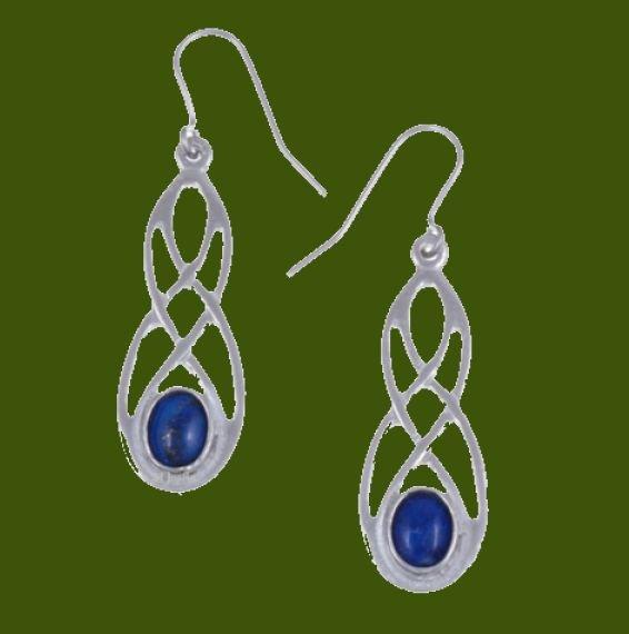 Image 0 of Celtic Bow Lapis Lazuli Knotwork Stylish Pewter Sheppard Hook Earrings
