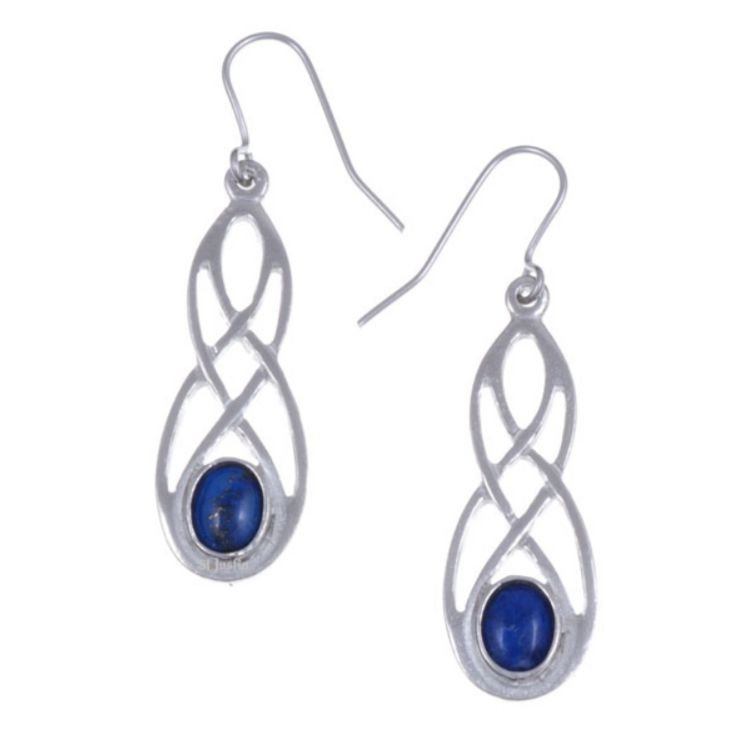 Image 1 of Celtic Bow Lapis Lazuli Knotwork Stylish Pewter Sheppard Hook Earrings