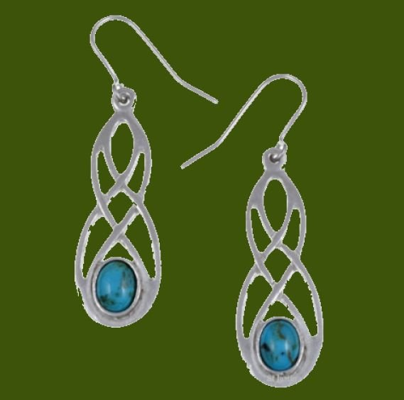 Image 0 of Celtic Bow Turquoise Knotwork Stylish Pewter Sheppard Hook Earrings