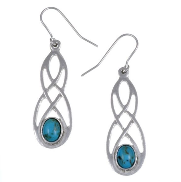 Image 1 of Celtic Bow Turquoise Knotwork Stylish Pewter Sheppard Hook Earrings