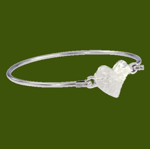 Image 0 of Heartbeat Hammered Symbol Silver Plated Clip On Bangle