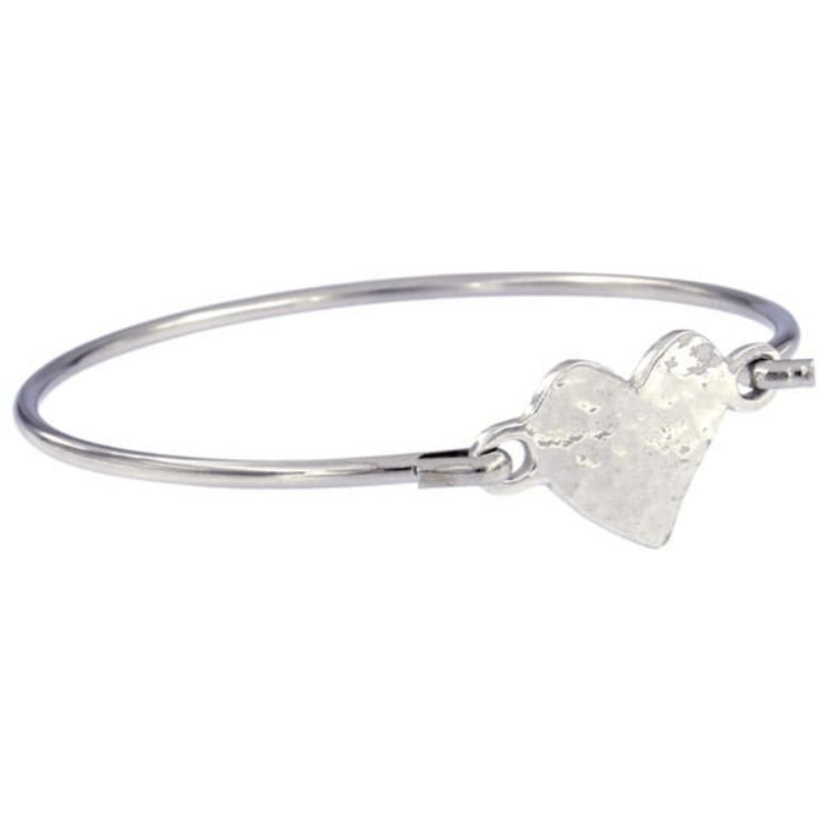 Image 1 of Heartbeat Hammered Gold Heart Symbol Silver Plated Clip On Bangle