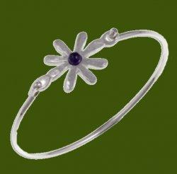 Dahlia Flower Symbol Amethyst Silver Plated Clip On Bangle